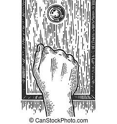 Hand knock door engraving vector illustration. Scratch board...