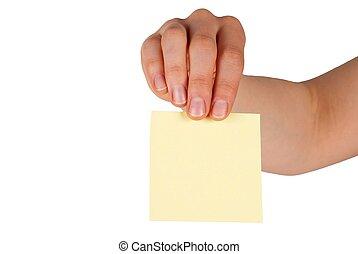 hand, kopie, etiket, vasthouden, ruimte
