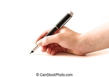hand, kugelschreiber hält, freigestellt, weiß, hintergrund