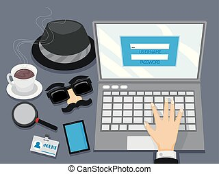 Hand Laptop Log In Spy Illustration
