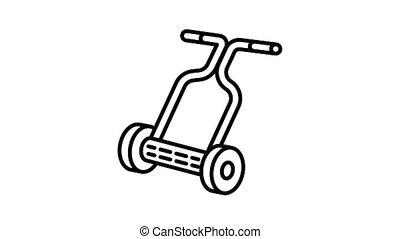 Hand lawnmower icon animation