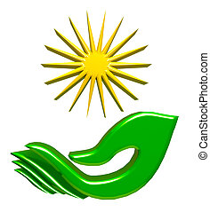 Hand leaf and sun 3D image - Hand leaf and sun green 3D...