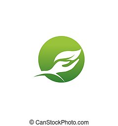 Hand leaf green Logo Template vector image
