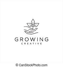 Hand leaf logo . Leaf nature logo Design Vector Stock . Eco, organic, natural logo design