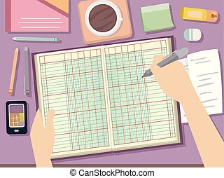 Illustration of Hands Holding a Pen and Ledger for Bookkeeping with Receipts, Coffee and Office Supplies on Desk