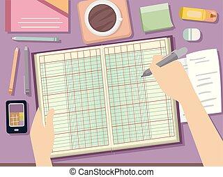 Hand Ledger Bookkeeping Illustration - Illustration of Hands...