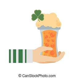 hand leprechaun holding glass beer st patricks day