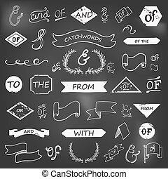 hand-lettered, catchwords, ampersands