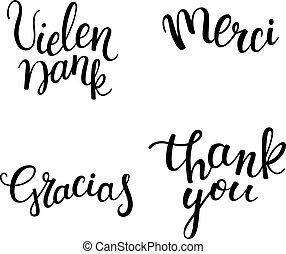 hand, lettering, franse , engelse , dank, spaanse , languages:, anders, duitser