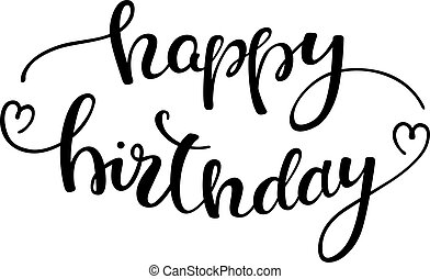 hand lettering happy birthday. Template greeting card, poster.