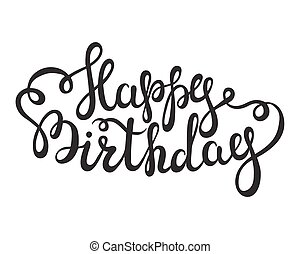 Hand lettering Happy Birthday words on white background.