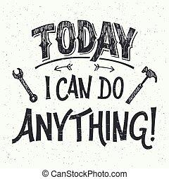 hand-lettering, hoje, lata, coisa