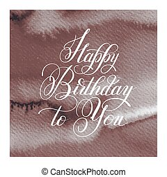 hand lettering inscription typography template Happy Birthday