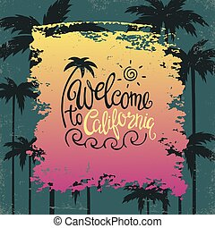 Hand lettering poster with the inscription I love California.