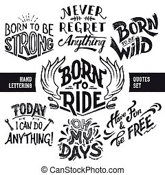 Hand lettering quotes set