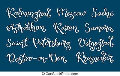 Hand lettering Russian city. Kaliningrad, Moscow, Sochi, ...