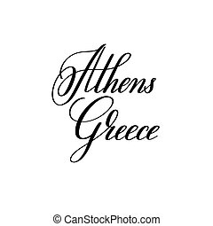 hand lettering the name of the European capital - Athens Greece