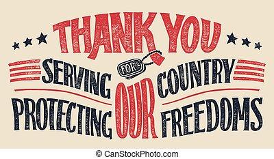 hand-lettering, veteranen, sie, karte, danken