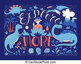 Hand lettering with dinosaurs. - Vector hand drawn vintage...