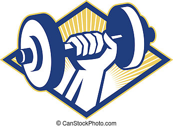 Illustration of a hand lifting dumbbell weight training set inside diamond done in retro style.