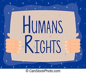 hand lifting human rights label vector illustration design
