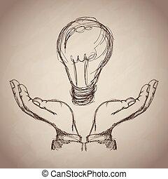 hand light bulb idea business icon. Vector graphic