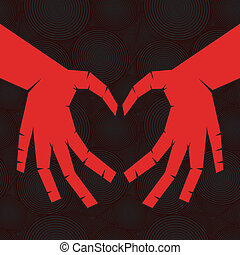 Hand like heart on seamless background.