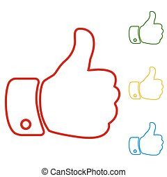 Hand. Like. Set of line icons