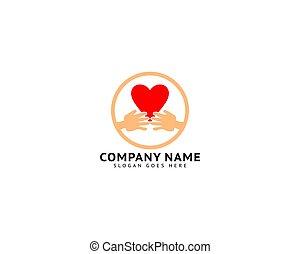 Hand Love Logo Template Vector Icon