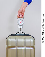 Hand luggage measurement using steelyard balance.