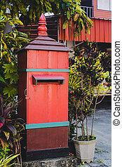 Hand made big mail box at home.