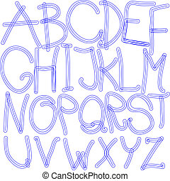 hand made blue alphabet isolated on white