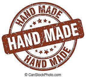 hand made brown grunge round vintage rubber stamp