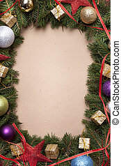 Hand made christmas paper with tree border with christmas decoration
