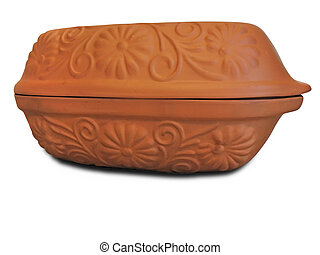 hand made clay vessel isolated over white background