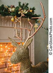 Hand made Cristmas deer near fireplace, FULL SIZE