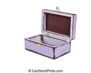 Hand made decoupage jewel box on isolated white background.