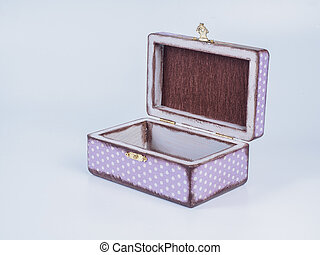 Hand made decoupage jewel box on white background.