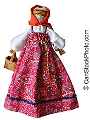 Hand made doll in traditional dress, Russia, isolated...