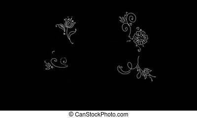 Hand-made Floral Pattern On Alpha Channel - Romantic...