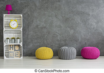 Creative hand made furniture- wool and apple crates