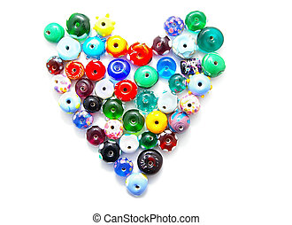 hand-made glass beads in a heart shape
