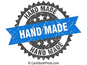 hand made grunge stamp with blue band. hand made