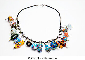 Hand made jewelry with multi-colored beads