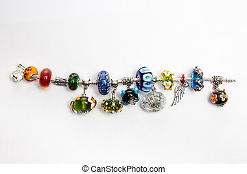 Hand made jewelry with multi-colred beads