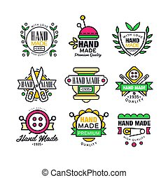 Hand made, knitting and tailor set of labels vector Illustrations
