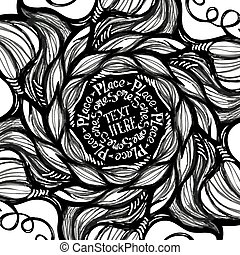 Hand made lettering template on abstract doodle background