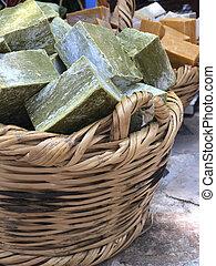 Hand made natural soap bars in basket