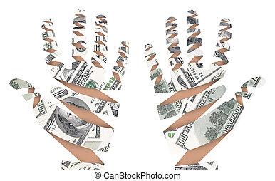 Hand made of dollar bank notes.