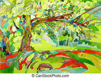 original watercolor painting by a tree - hand made original...
